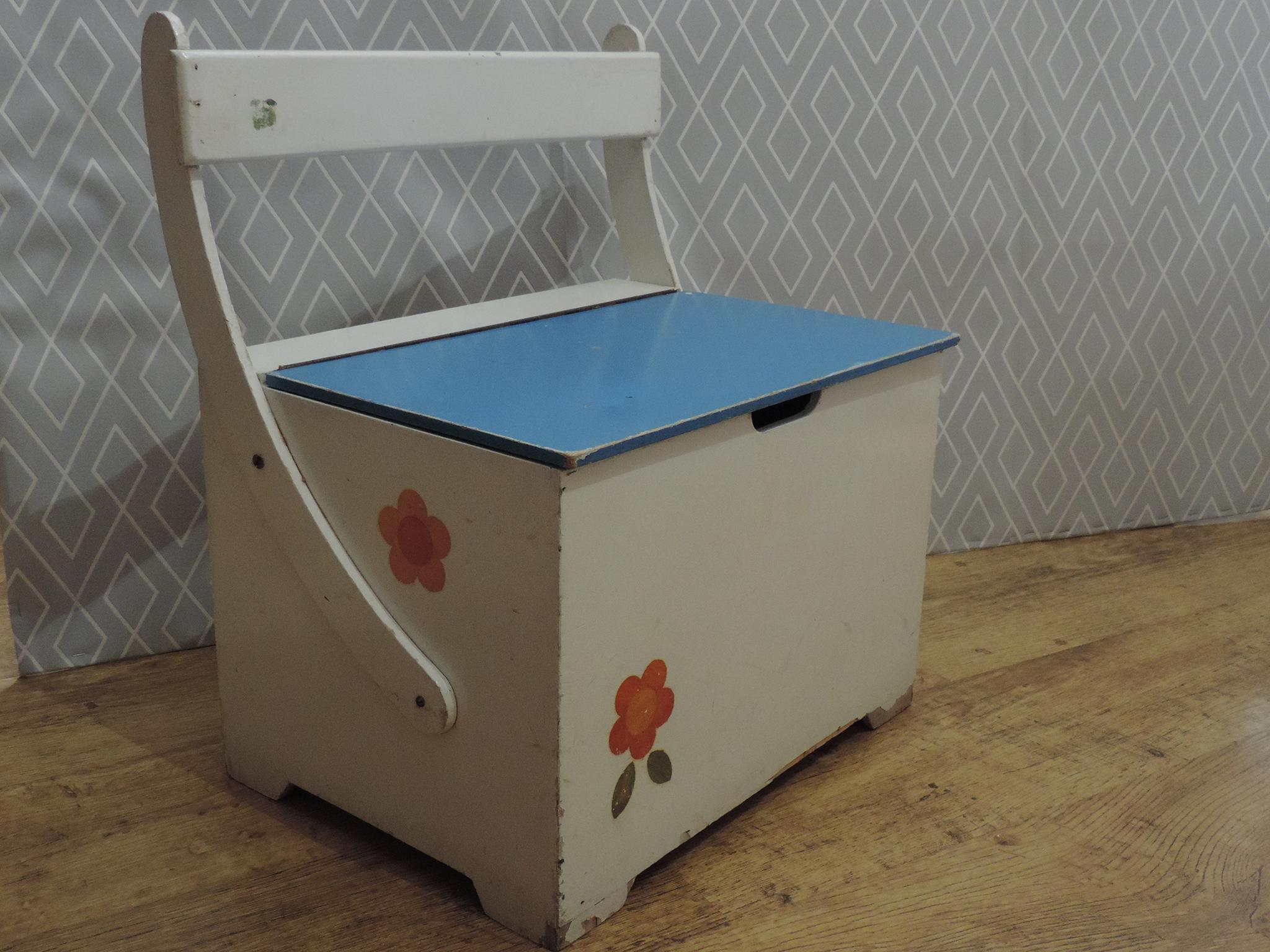 design de qualité 7290a 5621f Banc / Coffre à jouet vintage bleu